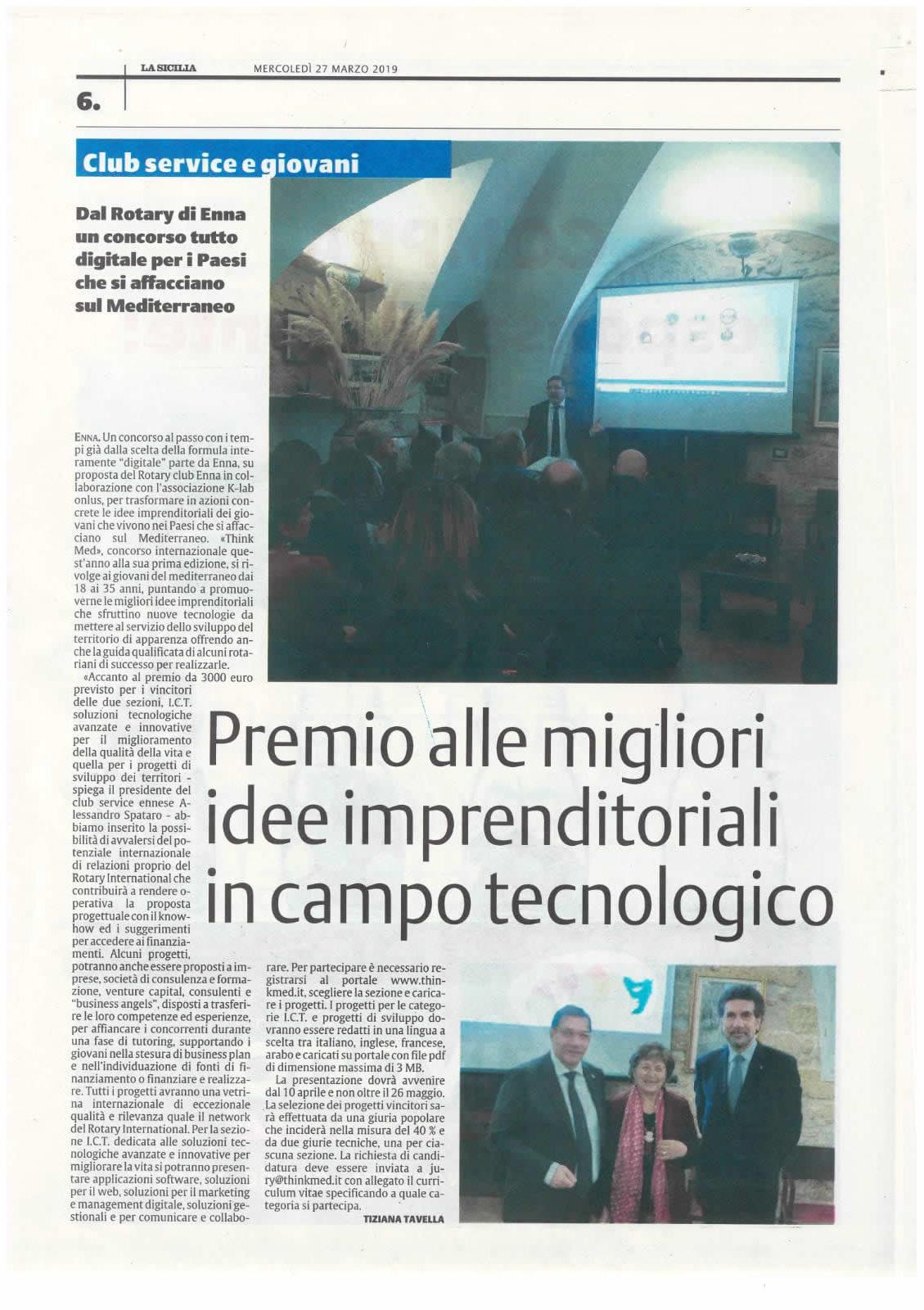 Dal Rotary club di Enna un premio alle migliori idee imprenditoriali in campo tecnologico
